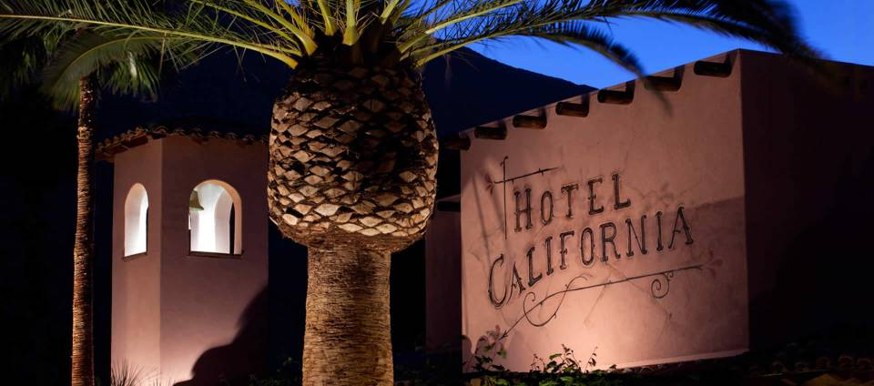 Hotel California night lit exterior