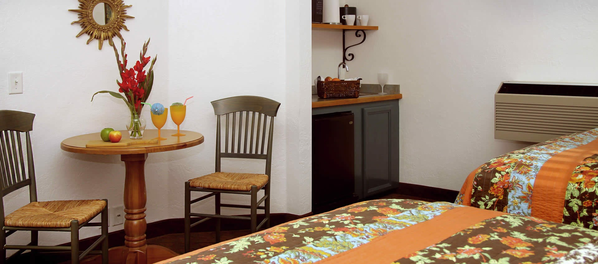 Double Queen Room table and serve counter